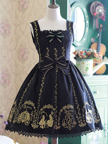 Milanoo Sweet Lolita Jumper Skirt Infanta Cinderella Lolita JSK Original Design