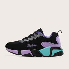 Lace-up Front Color Block Chunky Sneakers