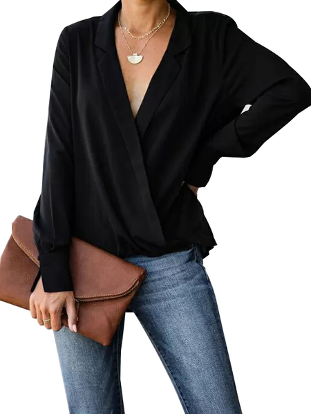 YOINS Black Wrap Design Notch Collar Long Sleeves Blouse