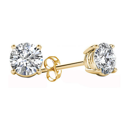 Classic Collection 1/4 CT. T.W. Genuine White Diamond 10K Gold 3.2mm Stud Earrings, One Size , No Color Family