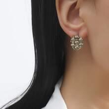 Braided Geo Design Stud Earrings