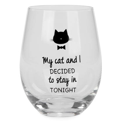 Stemless Wine Glass - My Cat & I
