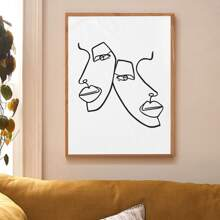 Abstract Face Print Wall Painting Without Frame