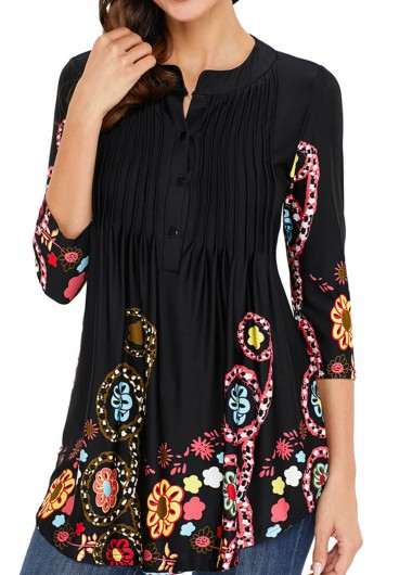 Floral Print Three Quarter Sleeve Crinkle Chest T Shirt - M