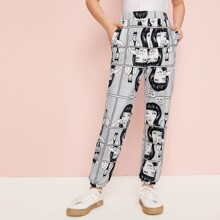 Girls Pop Art Print Slant Pocket Pants