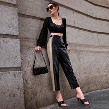 Contrast Sideseam PU Leather Pants