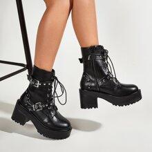 Eyelet Buckle Decor Chunky Heeled Combat Boots