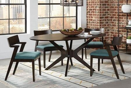 Jarmen Collection 122520-S5-523 5-Piece Dining Room Set with Oval Dining Table and 4 Side Chairs in Medium Brown