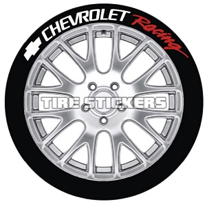 Tire Stickers CHVYRACING-1416-15-4-Y Permanent Raised Rubber Lettering 'Chevrolet Racing' Logo - 4 of each -    14