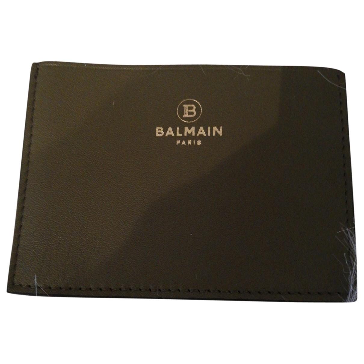 Balmain \N Khaki Leather Small bag, wallet & cases for Men \N