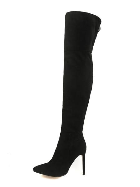 Milanoo Botas altas mujer Marron Piel sintetica de tacon de stiletto de puntera puntiaguada 10cm Color liso Primavera Otoño Cremallera para fiesta