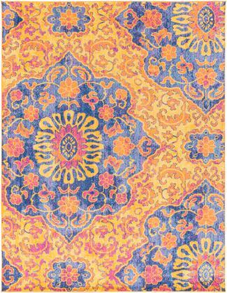 Elaziz ELZ-2318 710 x 103 Rectangle Global Rug in Bright Orange  Saffron  Dark Blue  Aqua  Bright Pink