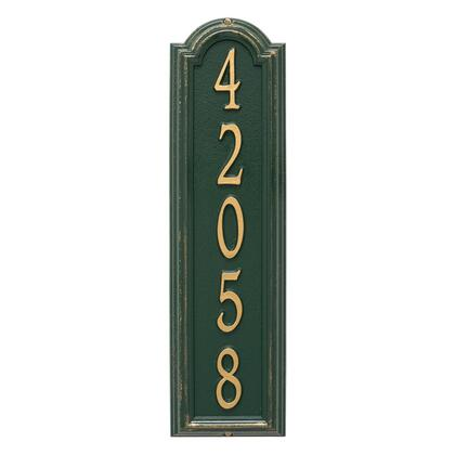 1286GG Personalized Manchester Vertical Wall Plaque in Green and Gold