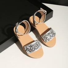 Toddler Girls Sequin Decor Ankle Strap Sandals