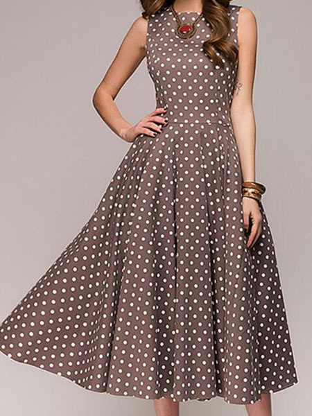 Milanoo Women Vintage Dress Polka Dot Sleeveless Summer Dress