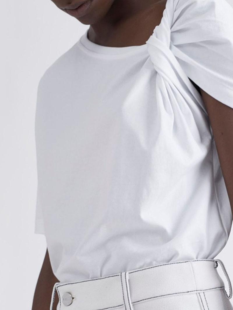 Ericdress Plain Short Sleeve Pleated Summer Fashion T-Shirt