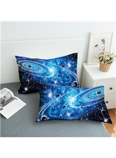 Planets In A Galaxy In Outer Space Reactive Printing 2-Piece Polyester Pillowcase