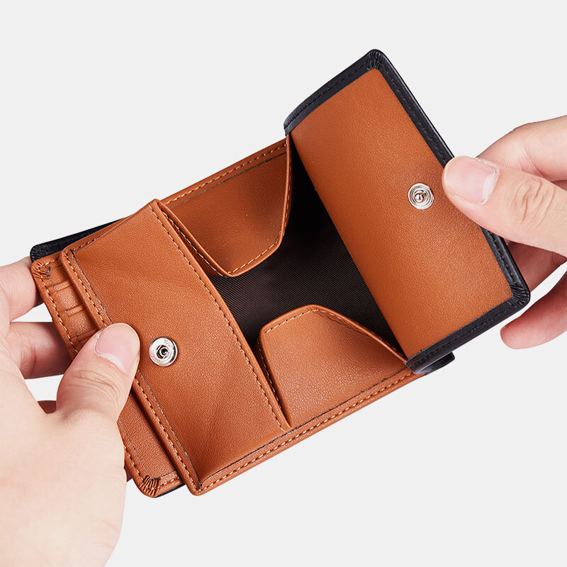 Men Genuine Leather 8Card Slots Coin Purse Short Wallet