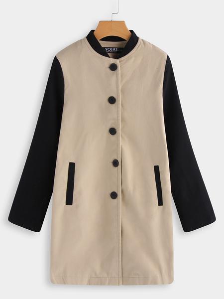 Yoins Khaki & Black Single Breasted Design Long Sleeves Coat