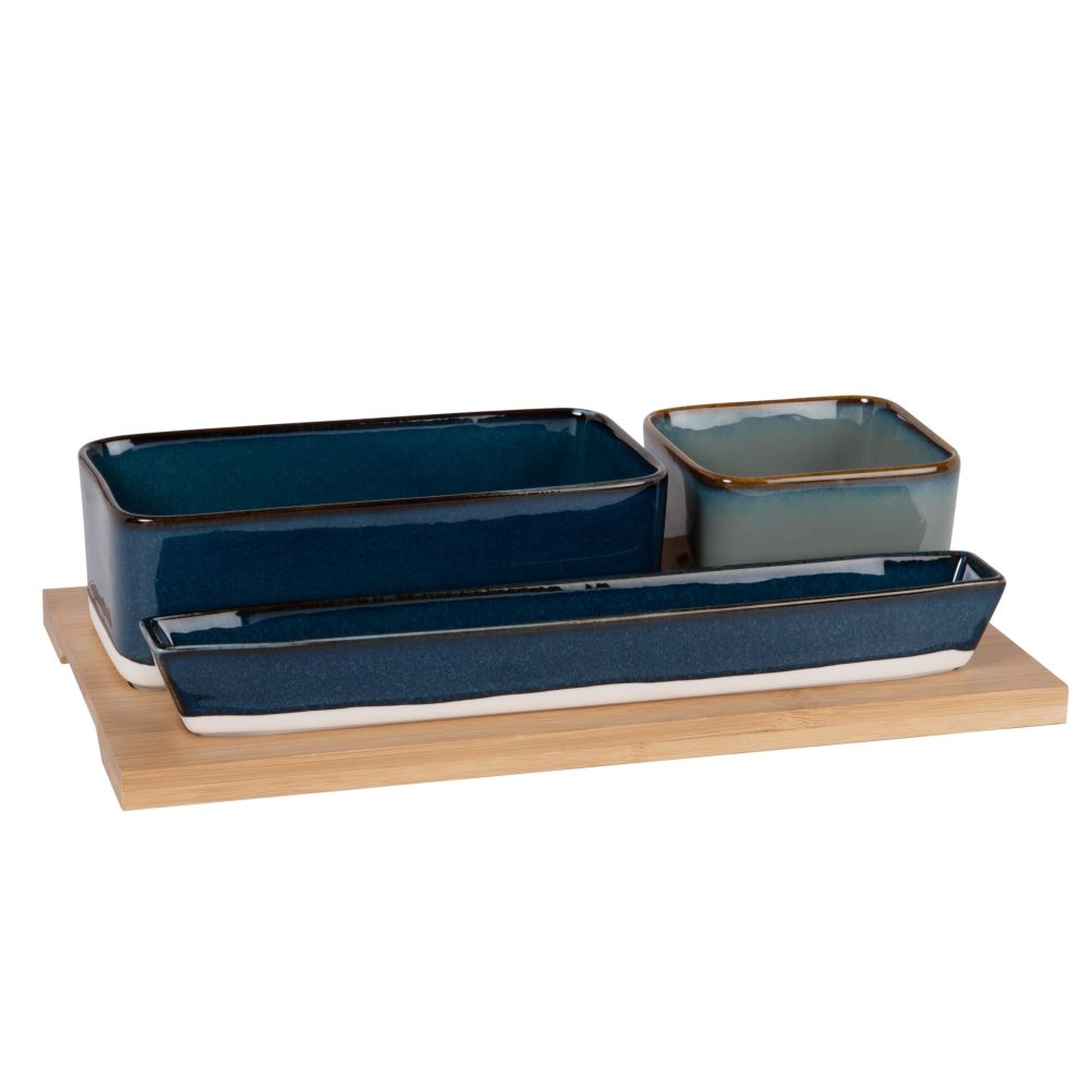 Aperitiftablett aus Bambus mit 2 Porzellan-Schalen in Blau und Hellgrau