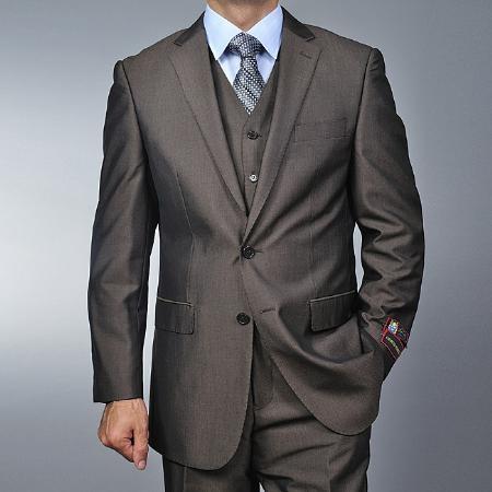 Mens 2 Button Vested 3 Piece Fiorelli Suit Brown Teakweave Cheap