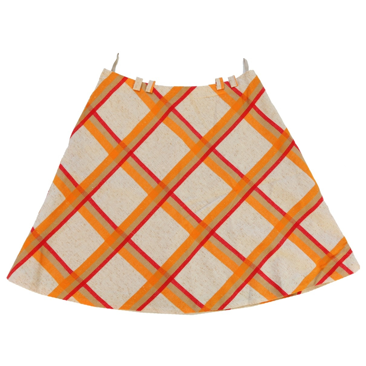 Non Signé / Unsigned Hippie Chic Orange skirt for Women One Size International