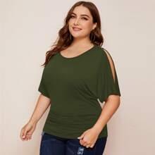 Einfarbiges T-Shirt mit Schlitz auf Ärmeln
