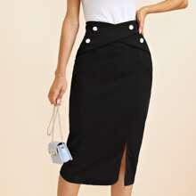 Buttoned Crisscross Front Split Hem Pencil Skirt