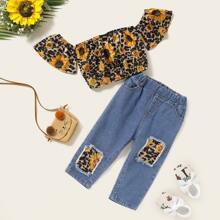 Baby Girl Leopard Sunflower Bardot Top With Patched Jeans