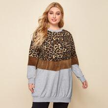 Pullover mit Farbblock und Leopard Muster