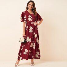 Maxi Kleid mit mehrschichtigen Ärmeln und Blumen Muster