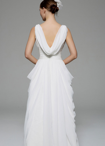 Milanoo Ivory Wedding Dress Deep-V Ruched Sash Tiered Chiffon Wedding Gown