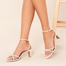 Vegan Leather Criss Cross Knotted Low Heel Sandals
