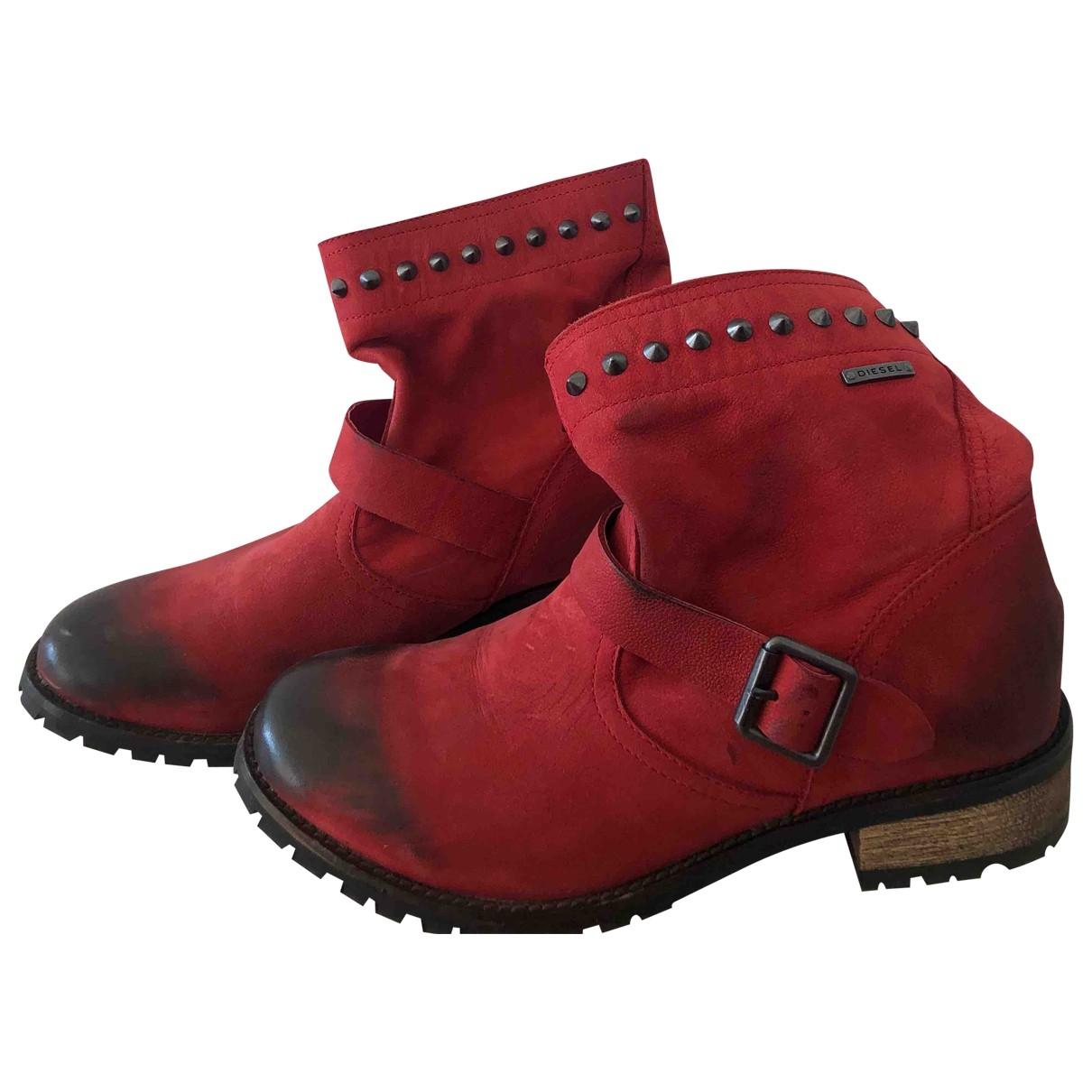 Diesel \N Stiefel in  Rot Leder