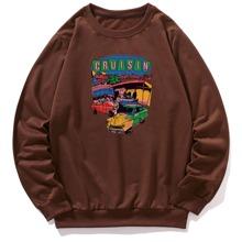 Men Car And Letter Graphic Sweatshirt