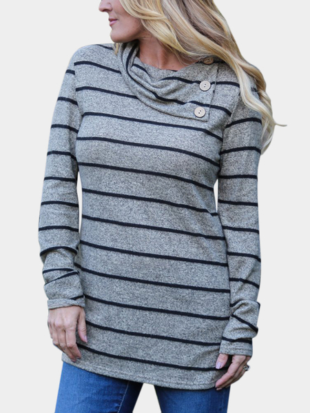 Yoins Grey Button Design Stripe Drape Sagging Long Sleeves T-shirts