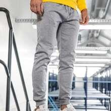 Pantalones con cordon unicolor