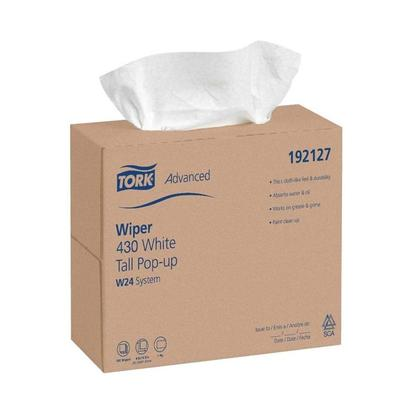 Tork Advanced Disposable 430 White Wipers, Tall Pop-Up 1-Ply, 9.25 x 16.25