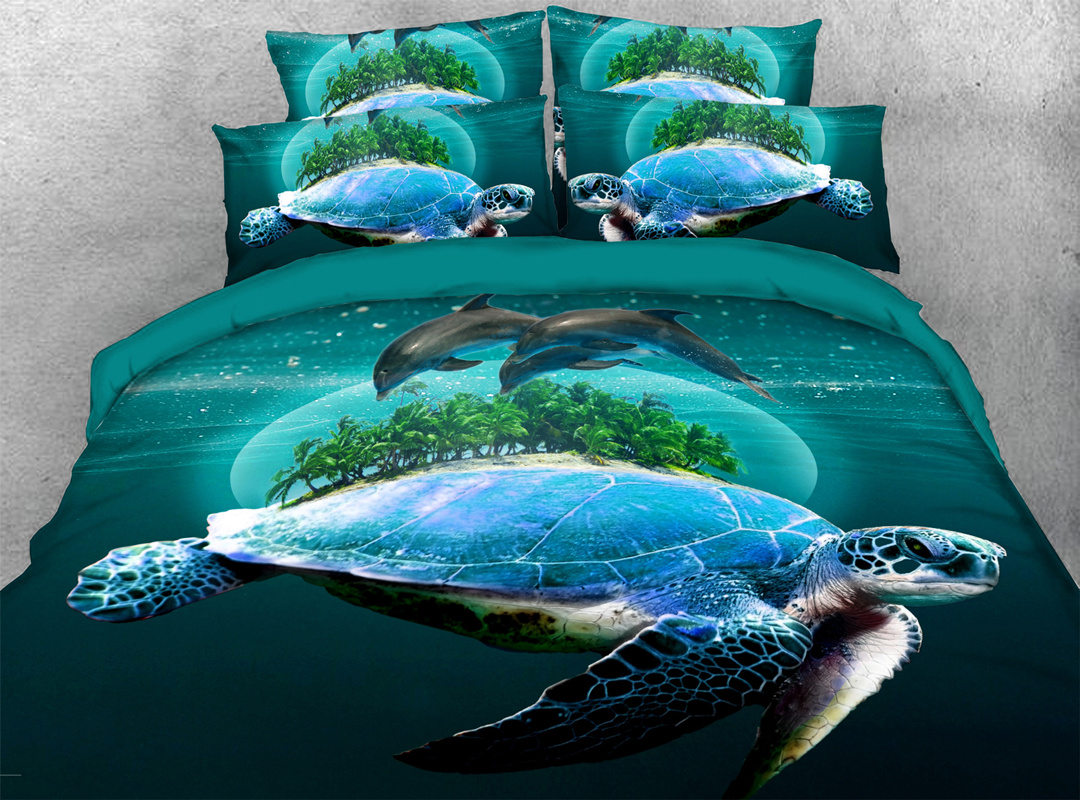 Turtle in The Blue Limpid Ocean Four-Piece Set Reactive Printing Machine Wash Duvet Cover Set Polyester Bedding Sets