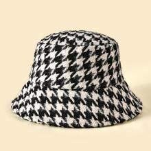 Houndstooth Print Bucket Hat