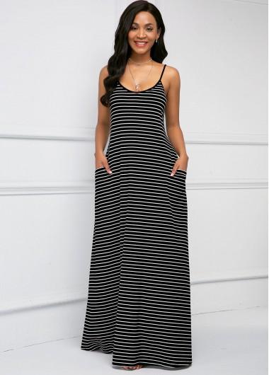 Black Dresses Spaghetti Strap Side Pocket Stripe Print Soft Dress - M