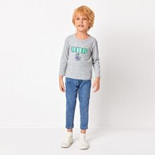 Toddler Boys Cartoon And Letter Graphic Tee