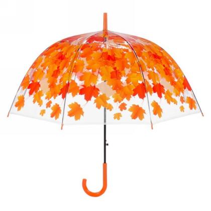 Transparent Umbrella - Orange Leaves 34