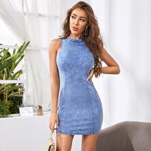 Frill Neck Seam Front Sleeveless Denim Dress