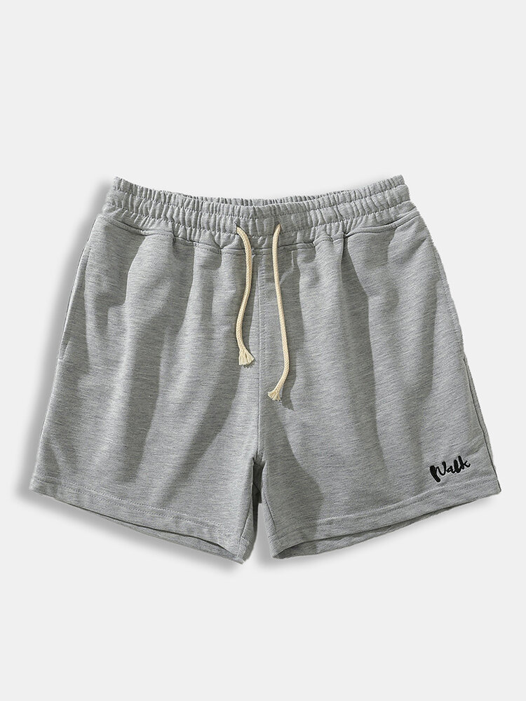 Mens Embroidered Cotton Workout Shorts Comfy Sports Casual Drawstring Lounge Shorts With Mulit Pockets