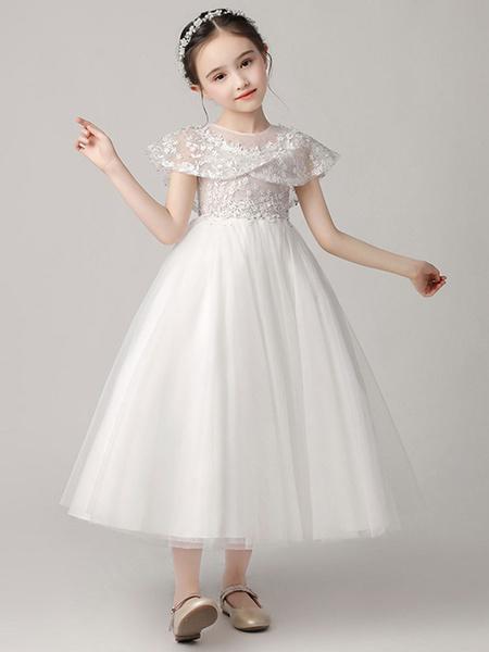 Milanoo Vestidos de niña de flores Cuello joya Tul Sin mangas Hasta el tobillo Princesa Silueta Vestidos de fiesta bordados para niños