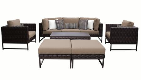 Barcelona BARCELONA-08c-BRN-WHEAT 8-Piece Patio Set 08c with 2 Corner Chairs  2 Club Chairs  1 Armless Chair  1 Coffee Table and 2 Ottomans - Beige