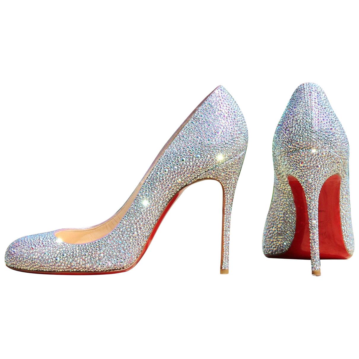 Christian Louboutin Fifi  Silver Glitter Heels for Women 40 EU