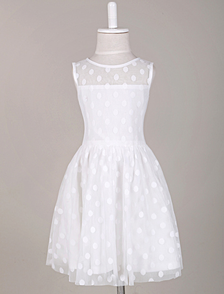Milanoo Sleeveless Dotted Illusion Neck Flower Girl Dress