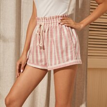 Tied Paperbag Waist Striped Shorts